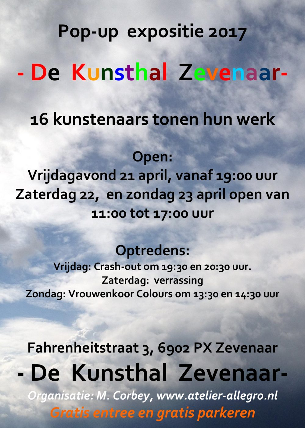 Pop-up expositie in het weekend na Pasen.
