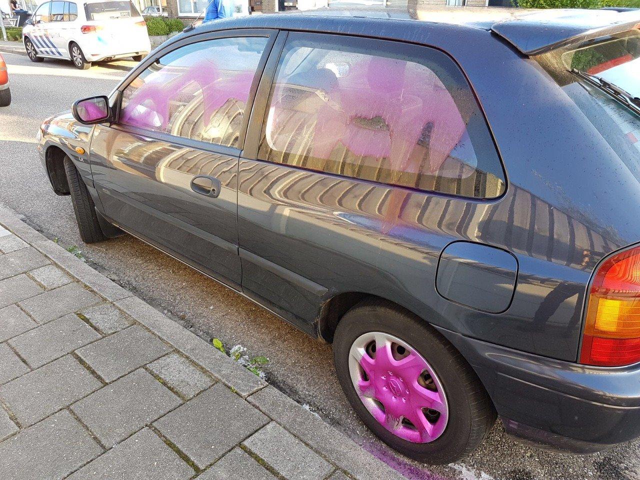 19 auto's bespoten met verf