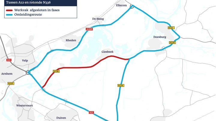 Rivierweg tussen A12 Duiven en Doesburg bijna 2 maanden afgesloten